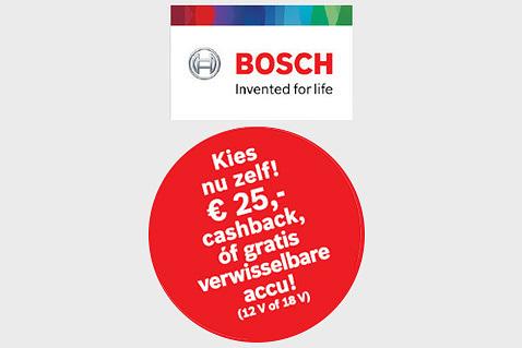€25 cashback of gratis accu met Bosch