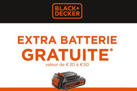 Extra batterie Black+Decker gratuite