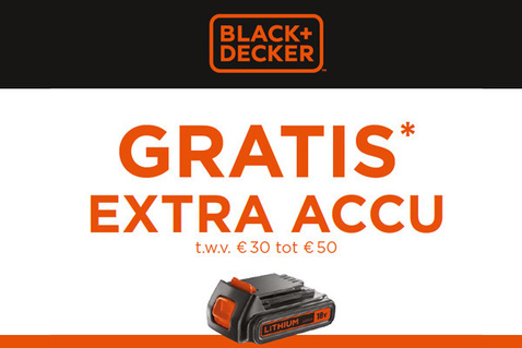 Gratis extra accu Black+Decker