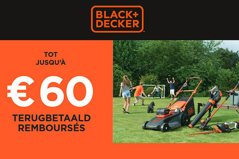 Jusqu'à €60 remboursés chez Black+Decker