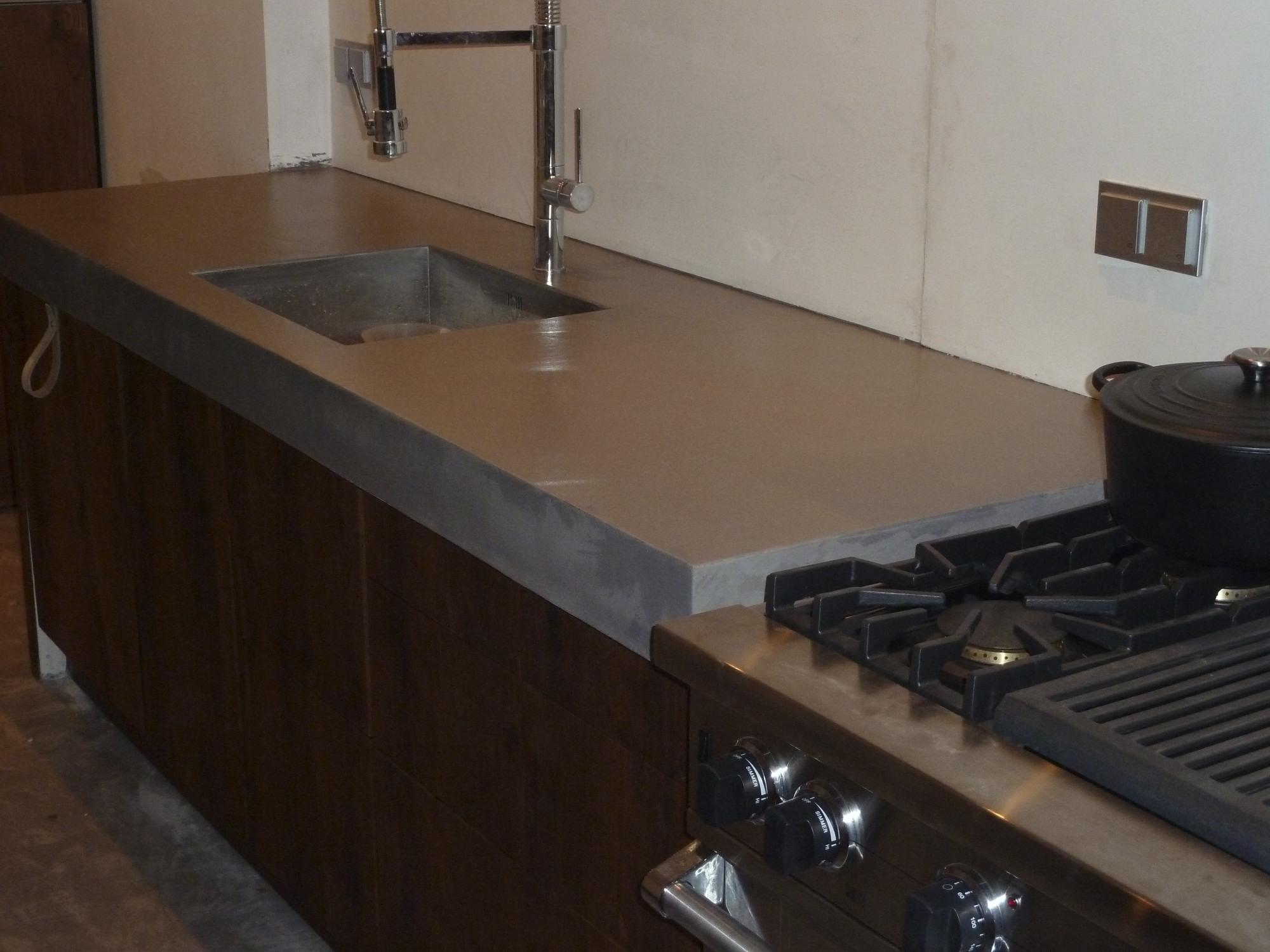 Werkblad Keuken Verven : Aanrechtblad betonlook verven
