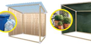Eenvoudige opslag of tuinkas met hoekverbinders