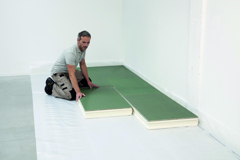recticel isolation et dallage en un seul panneau pour. Black Bedroom Furniture Sets. Home Design Ideas