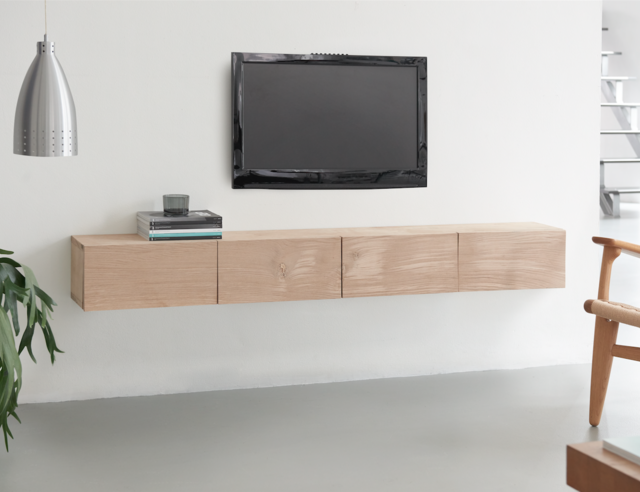 fabriquez un meuble de tv design en bois de ch ne pour les makers. Black Bedroom Furniture Sets. Home Design Ideas